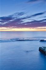 Preview iPhone wallpaper Spain, Valencia, stones, moss, sea, coast, calm evening, sunset, blue sky