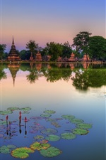 Preview iPhone wallpaper Sukhothai Historical Park, Thailand, lake, water lilies