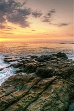 Sunset sea beautiful landscape, rocks, waves