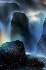 Preview iPhone wallpaper Tatsuzawa Falls, Japan, rainbow in the sky