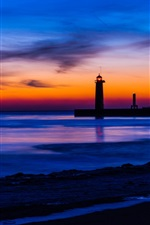 Preview iPhone wallpaper USA, Michigan, sea, beach, lighthouse, night, blue and orange sky, sunset, clouds