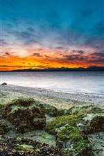 iPhone обои США, Вашингтон, Сиэтл, пляж, берег, камни, закат, море
