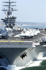 Preview iPhone wallpaper Aircraft carrier, fighters, helicopters, sea