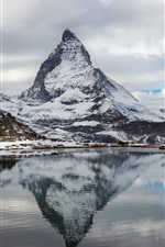 Preview iPhone wallpaper Alps, Switzerland, Italy, Mount Matterhorn mountain lake, water reflection, sky