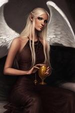 Angel girl sitting on the sofa