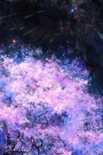Preview iPhone wallpaper Art painting, cherry trees, space, meteor shower