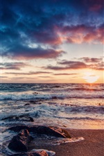 Preview iPhone wallpaper Beautiful coast sunrise, sea, waves, rocks, clouds