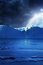 Preview iPhone wallpaper Blue sea ice water, cold night, planets and stars