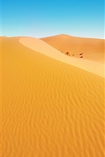 Preview iPhone wallpaper Desert landscape, dunes, yellow sand, blue sky