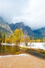 Preview iPhone wallpaper Early winter nature landscape, trees, snow, river, mountains