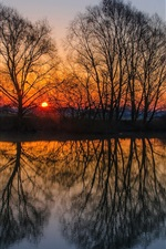 England landscape, evening sunset, trees, river, water surface reflection