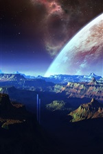 Preview iPhone wallpaper Fantastic scenery, mountains, space, planet