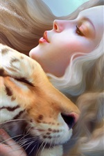 Preview iPhone wallpaper Fantasy girl with tiger