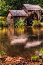 Preview iPhone wallpaper Farm landscape, water tankers, river, duck