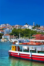 Preview iPhone wallpaper Greece, sea, boats, houses, blue sky, clouds