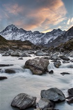 Preview iPhone wallpaper Hooker River, Mount Cook National Park, New Zealand, mountains, rocks