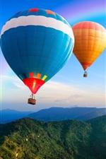 Hot air balloon, rainbow, hills