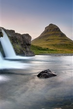 Preview iPhone wallpaper Iceland Eldfell, the volcano, waterfall