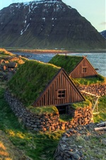 Preview iPhone wallpaper Iceland landscape, coast, sea, houses, mountains