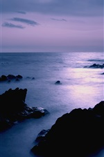 Japan sea coast scenery, dusk, rocks, sky