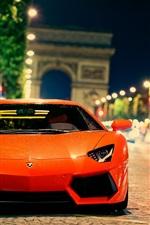 iPhone fondos de pantalla Lamborghini Aventador LP700-4 en la calle de la ciudad en la noche