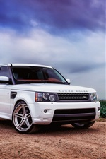 Preview iPhone wallpaper Land Rover, Range Rover, sport white SUV car