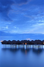 Preview iPhone wallpaper Malaysia, calm sea, coast, houses, night, sky, blue