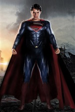 Preview iPhone wallpaper Man of Steel, the post-war ruins