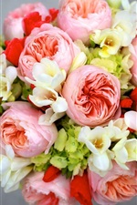 Preview iPhone wallpaper Peony, freesia, hydrangea, flowers bouquet