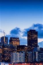 Preview iPhone wallpaper San Francisco, California, USA, city, bay, evening, sky, skyscrapers, lights