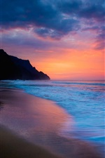 Preview iPhone wallpaper Sea beach sunset, purple and blue sky, clouds, coast