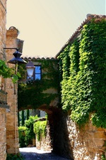 Preview iPhone wallpaper Spain, Catalonia, town greenery, road, houses, sunshine