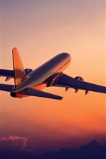 Preview iPhone wallpaper The plane flying at sunset, airliner photography
