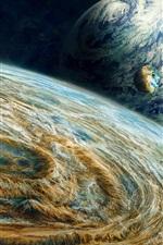Três planetas no espaço, pintura criativa