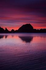 Preview iPhone wallpaper USA, California, ocean, beach, rock mountains, evening, twilight, crimson sunset