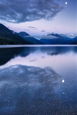 Preview iPhone wallpaper USA, Washington, National Park, forest, mountains, lake, moonlight night