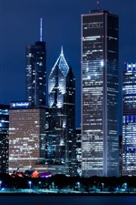 Preview iPhone wallpaper United States, Illinois, Chicago, skyscrapers, city night lights
