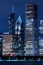 United States, Illinois, Chicago, skyscrapers, city night lights
