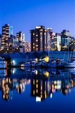 Vancouver, Canada, city night, lights, buildings, sea, yacht, reflection