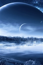 Preview iPhone wallpaper Winter snow lake trees, planets in the sky, creative design