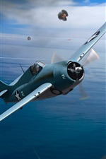 Preview iPhone wallpaper World War II, art drawing, fighter, aircraft carrier, sea, sky