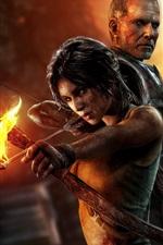 Preview iPhone wallpaper 2013 Tomb Raider, Lara Croft, fire bow