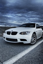 Preview iPhone wallpaper BMW M3 E92 white car, road, cloudy sky