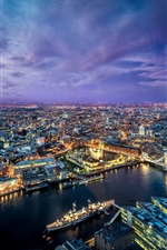 Preview iPhone wallpaper Beautiful London city at evening, lights, river, buildings, bridge