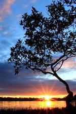 Schöne Landschaft Einbruch der Dunkelheit an der Flussseite, Sonnenuntergang, Baum, Himmel, Wolken