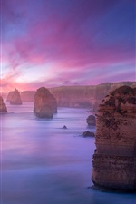 Preview iPhone wallpaper Coast landscape, mountains, rocks, reefs, sunset, purple sky
