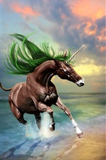 Preview iPhone wallpaper Creative design pictures, brown unicorn, beach, sunset
