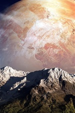 Preview iPhone wallpaper Creative design, planet, mountains, sky, clouds