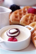 Delicious breakfast, fruit, waffles, strawberries, dessert