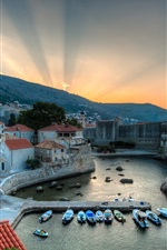 Preview iPhone wallpaper Dubrovnik, Croatia, harbor, boats, sunrise, houses, sea